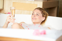 Woman Relaxing In Bubble Bath Royalty Free Stock Photography