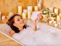 Woman relaxing at  bubble bath Stock Photography