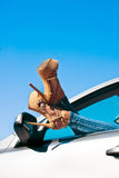 Woman relaxing in a car Royalty Free Stock Photo