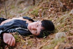 Woman relaxing in country Royalty Free Stock Photo