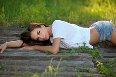 Woman relaxing in countryside royalty free stock photos