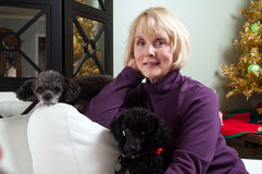 Woman relaxing with dogs stock images