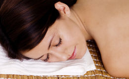 Woman relaxing with eyes closed stock images