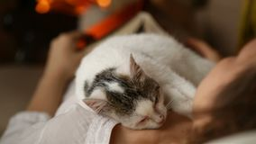 Woman relaxing by the fireplace - kitten sleeping on her chest stock video