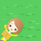Woman relaxing on the grass. Cartoon woman relaxing on the grass and smile happily Stock Photo