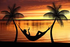 Woman relaxing in a hammock. On tropical background royalty free illustration