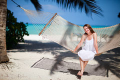 Woman relaxing in hammock Royalty Free Stock Image