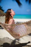 Woman relaxing in hammock Royalty Free Stock Photos