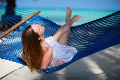 Woman relaxing in hammock Royalty Free Stock Photography