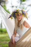 Woman relaxing in hammock Royalty Free Stock Photo
