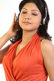 Woman relaxing with headphones Royalty Free Stock Photo