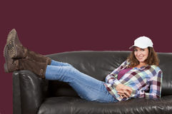 Woman relaxing in her new home Stock Photo