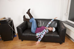 Woman relaxing in her new home Royalty Free Stock Photos