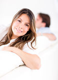 Woman relaxing at home Stock Photos