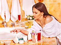 Woman relaxing at home bath. Woman relaxing at home luxury bath Royalty Free Stock Photo