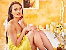 Woman relaxing at home bath. Stock Image