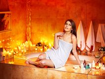 Woman relaxing at home bath. Royalty Free Stock Image