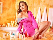 Woman relaxing at home bath. Woman relaxing at home luxury bath Royalty Free Stock Photos