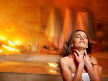 Woman relaxing at home bath. Woman relaxing at home luxury bath. Art photo Stock Photos