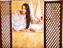 Woman relaxing at home bath. Royalty Free Stock Images