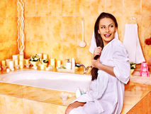 Woman relaxing at home bath. Royalty Free Stock Photography