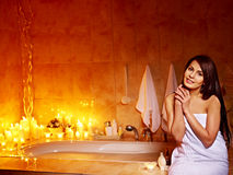 Woman relaxing at home bath. Stock Photography