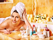 Woman relaxing at home bath. Royalty Free Stock Photo