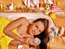 Woman relaxing at home bath Royalty Free Stock Photo