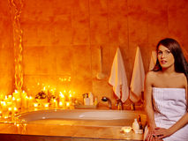 Woman relaxing at home bath Stock Photos