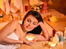 Woman relaxing at home bath Stock Photo