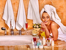 Woman relaxing at home bath Royalty Free Stock Photography