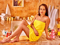 Woman relaxing at home bath Stock Images