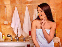 Woman relaxing at home bath Stock Photography