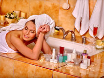 Woman relaxing at home bath. Stock Images