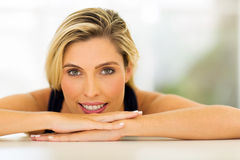 Woman relaxing at home Stock Images