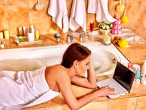 Woman relaxing at home luxury bath Royalty Free Stock Images