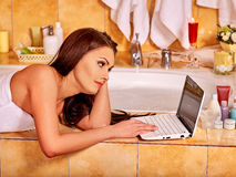Woman relaxing at home luxury bath Royalty Free Stock Photo