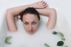 Woman Relaxing In A Bathroom Stock Images