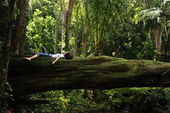 Free Woman Relaxing In A Tropical Forest Royalty Free Stock Photos - 14455858