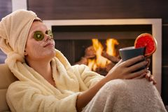 Free Woman Relaxing In Facial Mask Royalty Free Stock Photo - 26384545