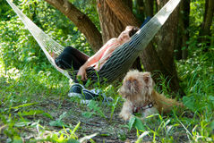 Woman Relaxing In The Hammock Royalty Free Stock Photography