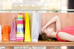 Woman relaxing  inside shopping center Royalty Free Stock Photos