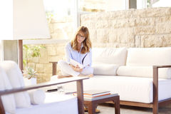 Woman relaxing after a long day Royalty Free Stock Photography