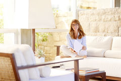 Woman relaxing after a long day Royalty Free Stock Photos