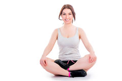 Woman relaxing in lotus position Royalty Free Stock Images