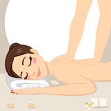 Woman Relaxing Massage Spa Stock Photography