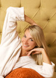 Woman relaxing in the morning Stock Photography