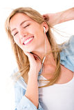 Woman relaxing with music Stock Photos