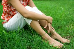 Woman relaxing in nature Stock Photography