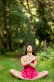 Woman relaxing in nature Stock Images
